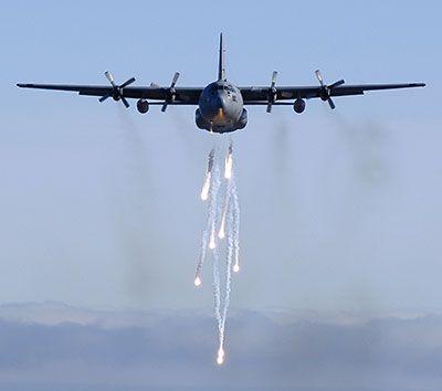 C-130E Hercules dropping flares