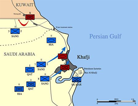 Battle of Khafji, on February 1, 1991