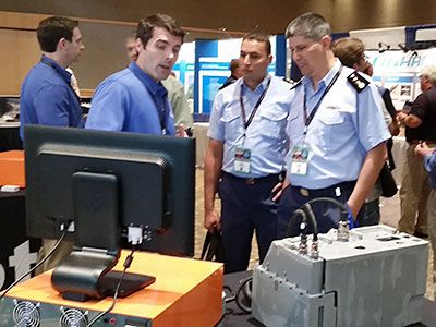 Chris Ott demonstrating the ARTES with the APG-66 Transmitter