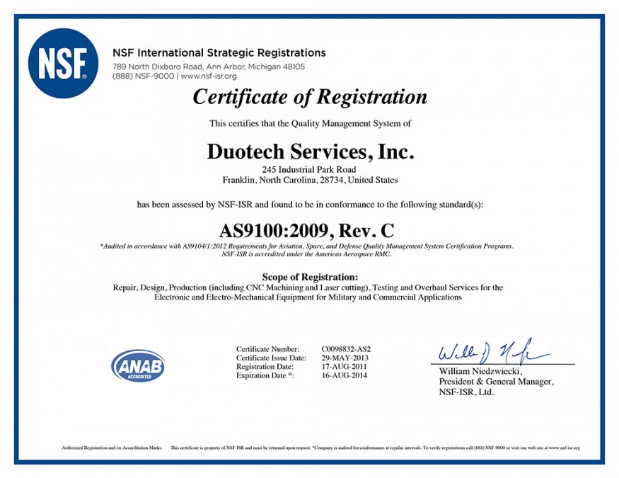 Duotech Services, Inc. Completes AS9100C Registration Process