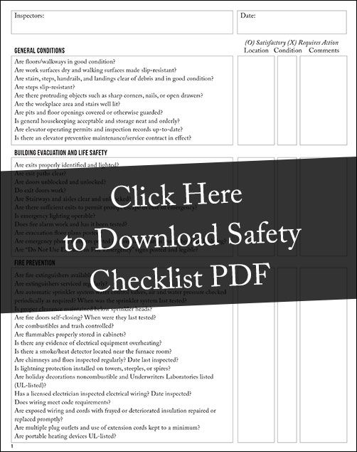 workplace safety checklist free download