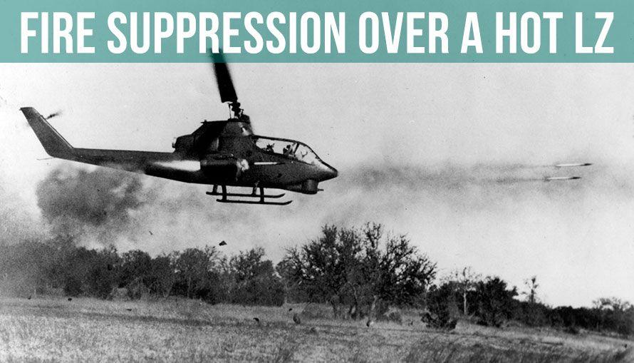 AH-1 Cobra fire suppression over hot LZ