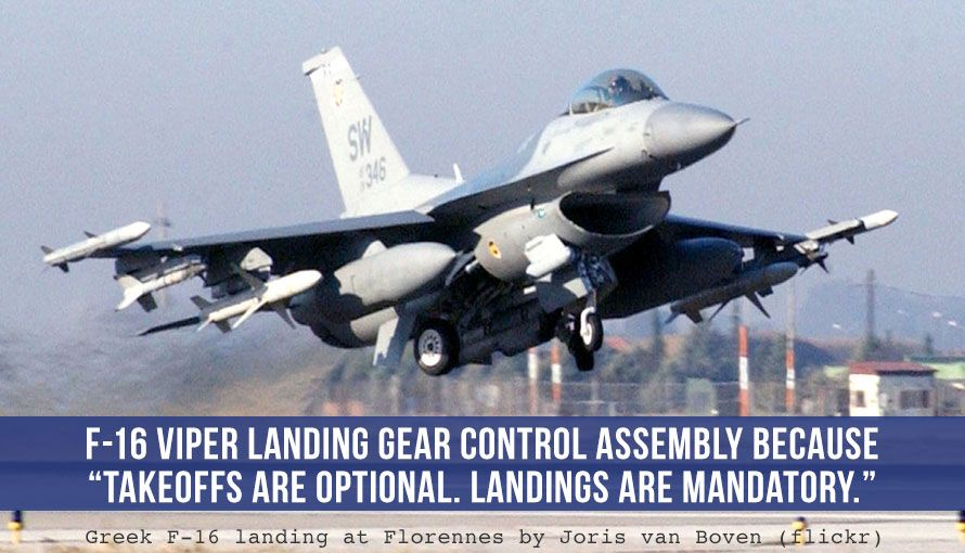f-16 viper landing gear control assembly