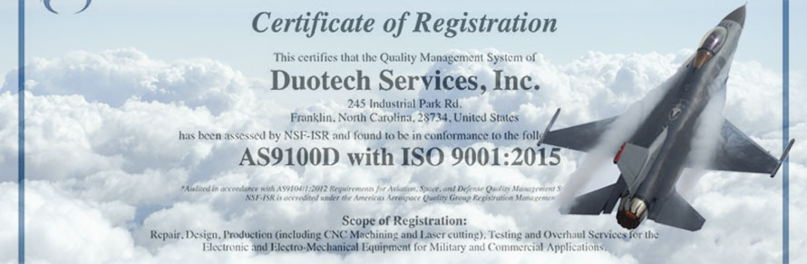 Duotech Services, Inc. Successfully Transitions to AS9100D Certification