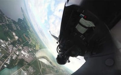 Unique F-16 Cockpit View Fixed on Horizon During Flight