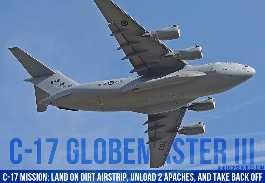 C-17 Mission: Land On Dirt Airstrip, Unload 2 Apaches, and Take Back Off