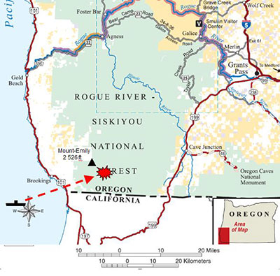 map of the Lookout Air Raids Brookings Oregon