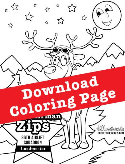 download coloring page zips reindeer