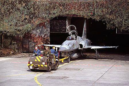 Swiss AF F-5 mountain cavern hanger