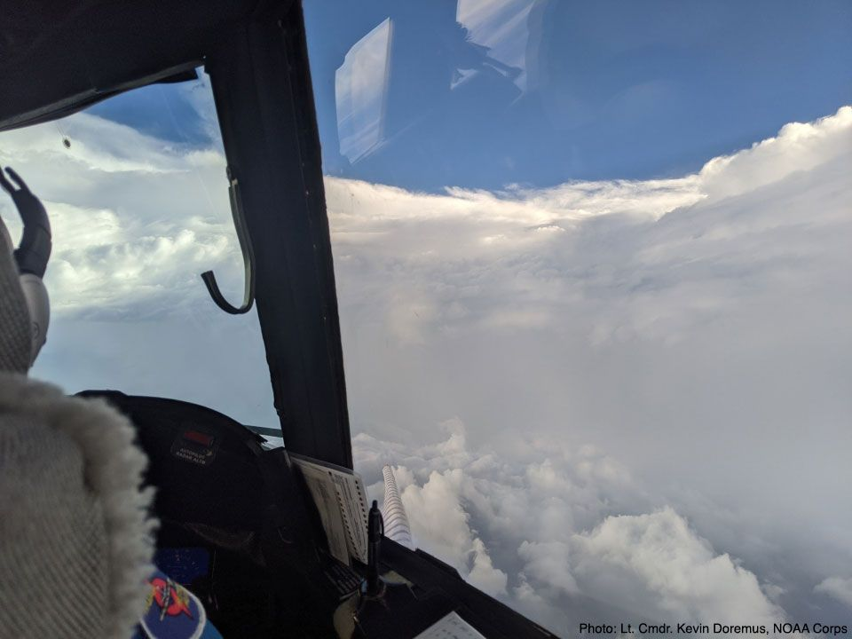 WP-3D and WC-130 Flying Into The Storm